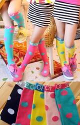 ถุงเท้าเด็กหญิงแบบยาวลายจุดใหญ่ ตัดขอบสีพื้น