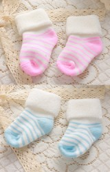 ถุงเท้าเด็กลายขวางแบบหนานุ่ม พับขอบขาว