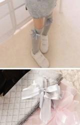 ถุงเท้าเด็กหญิงแบบยาวแต่งโบว์หวานด้านบน