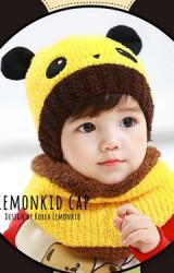 เซ็ตหมวกไหมพรมหมีแพนด้ามาพร้อมผ้าสวมคอ Lemonkid
