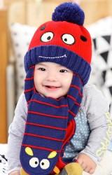 หมวกไหมพรมเด็กพร้อมผ้าพันคอในตัวรูปการ์ตูนยิ้ม Lemonkid
