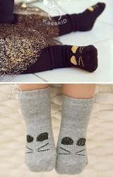 ถุงเท้าเด็กดีไซน์เป็นรูปแมวเหมียวน่ารัก มีกันลื่น