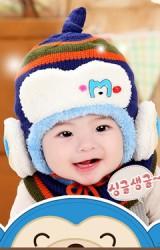 หมวกไหมพรมเด็กใส่กันหนาว ด้านหน้าแต่งอักษร M