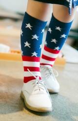 ถุงเท้าเด็กลายธงชาติอเมริกา แบบยาว ไม่มีกันลื่น