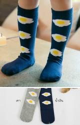 ถุงเท้าเด็กแบบยาวลายไข่ดาว  ไม่มีกันลื่น