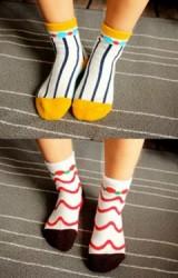 ถุงเท้าเด็กลายกราฟิกสวย ปลายเท้าและขอบตัดสีพื้น