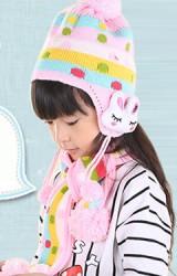 เซ็ตหมวกไหมพรมแต่งกระต่ายข้างหูมาพร้อมผ้าพันคอเด็ก