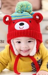 หมวกไหมพรมหน้าหมีแต่งหูกลม ยี่ห้อ MOFABABI