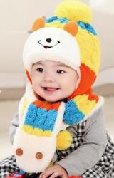 เซ็ตหมวกไหมพรมเด็กพร้อมผ้าพันคอรูปหมียิ้ม MOFABABI
