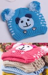 หมวกไหมพรมเด็กรูปหน้าหมี แต่งปอมปอมน่ารัก