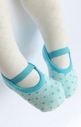 ถุงเท้าเด็กหญิงแบบหนาลายจุดเล็กๆ มีสายคาดด้านหน้า
