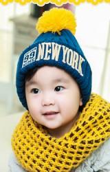 หมวกไหมพรมเด็ก ปักอักษร 99 NEW YORK ยี่ห้อ BIKABIKA