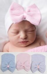 หมวกเด็กหญิงแรกเกิด แต่งโบว์ใหญ่