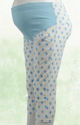 กางเกงคนท้องขา 4 ส่วนลายจุดและมีลายดอกไม้ในตัว