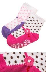 ถุงเท้าเด็กหญิง แพ็ค 2 คู่ แต่งดอกไม้ถักหวานๆ สีชมพูและม่วง