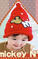 หมวกไหมพรมเด็กปลายแหลม แต่งมิกกี้และอักษร NY ยี่ห้อ BIKABIKA