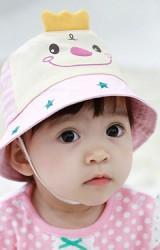 หมวกเด็กปีกรอบรูปการ์ตูนยิ้ม ปีกหมวกสกรีนรูปดาว  จาก TUTUYA