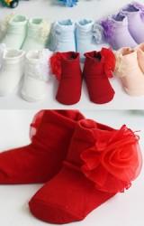 ถุงเท้าเด็กหญิง ด้านข้างแต่งดอกไม้สวยๆ