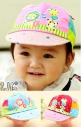 หมวกแก๊ปเด็กสกรีนรูปยีราฟและสิงโต
