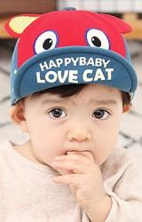 หมวกแก๊ปแมวตาโต  ปีกหมวกสกรีน HAPPYBABY LOVE CAT