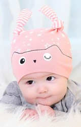 หมวกเด็กเล็กนลายนกฮูก สกรีนรูปดาว