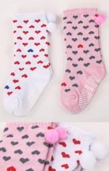 ถุงเท้าเด็กหญิงลายหัวใจแพ็ค 2 คู่ สีขาวและสีชมพู