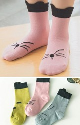 ถุงเท้าเด็กลายหน้าแมวและหน้าเจ้าตูบน่ารักๆ ไม่มีกันลื่น