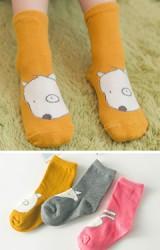 ถุงเท้าเด็กลายรูปสัตว์ กระต่าย เจ้าตูบและจิ้งจอก แบบไม่มีกันลื่น