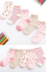 ถุงเท้าเด็กหญิงลายน่ารักโทนสีชมพูขาว