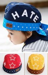 หมวกเด็กโจรสลัด ด้านข้างสกรีนอักษร H A T E  จาก TUTUYA