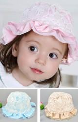 หมวกสาวน้อย ด้านในผ้าพื้นแต่งลูกไม้ขาวด้านนอก ชายระบายหวาน
