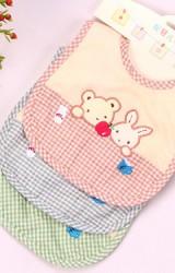 ผ้ากันเปื้อนเด็กแพ็ค 3 สี ปักหน้าหมีและกระต่าย