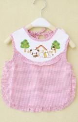ผ้ากันเปื้อนเด็กแบบเต็มตัวลายแพนด้าน่ารัก  ผ้าลายตาราง
