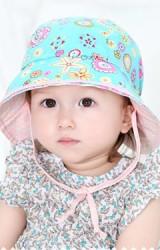 หมวกสาวน้อยใส่ได้สองด้าน ผ้าลายจุดและผ้าลายดอก