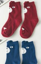 ถุงเท้าเด็กลายหน้าหมี แบบสั้น