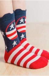 ถุงเท้าเด็กลายธงชาติอเมริกา แบบสั้น