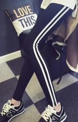กางเกงเลคกิ้งคนท้องขายาว ด้านข้างลายเส้นสีขาวคู่