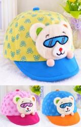 หมวกแก๊ปเด็กเล็กลายหมีแต่งหน้าหมีใส่แว่น