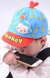 หมวกแก๊ปเด็กลายกล้วยแต่งหน้าลิง