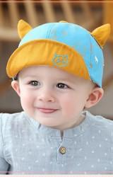 หมวกแก๊ปลายหน้าแมวสีฟ้าแต่งเขาน่ารัก