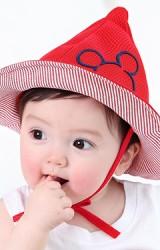 หมวกเด็กยอดแหลมปักหน้ามิกกี้ ใต้ปีกลายขวาง