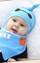 เซ็ตหมวกเด็กเล็กพร้อมผ้ากันเปื้อนลาย BABY MAX จาก dandy bebe
