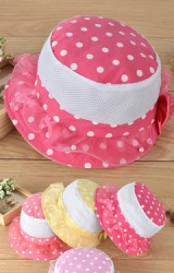 หมวกสาวน้อยลายจุดด้านหลังแต่งโบว์สวยหวาน