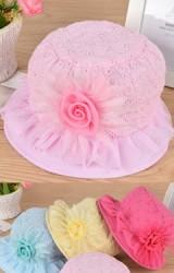 หมวกเด็กหญิงผ้าฉลุแต่งดอกไม้ใหญ่ ขอบหมวกระบายสวยงาม
