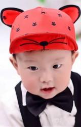 หมวกแก๊ปลายแมวแต่งหู ปีกหมวกปักหน้าแมว