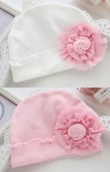 หมวกเด็กหญิงผ้ายืดแต่งดอกไม้ใหญ่