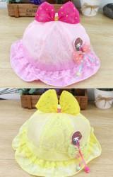 หมวกเด็กหญิงด้านบนแต่งโบว์ ช่วงขอบแต่งรูปสาวน้อย