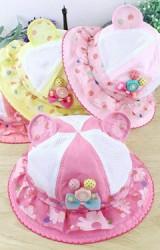 หมวกสาวน้อยแต่งหูมิกกี้ ตัวหมวกผ้าพื้นสลับผ้าตาข่าย