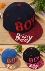 หมวกฮิปฮอปปักอักษร BOY  ปีกหมวกลายสวย