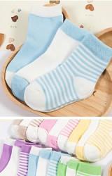ถุงเท้าเด็กแพ็ค 3 คู่ จัดมาโทนสีเดียวกันแบบลายขวางและสีพื้น